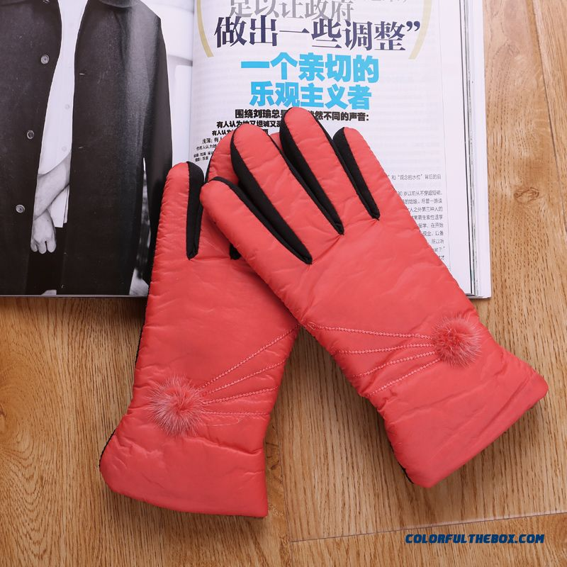 Lady Free Shipping Women Hairball Warm Winter Riding Cotton Gloves & Mittens Accessories - more images 2