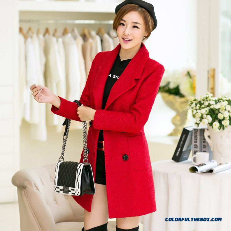 Lady Long Double-breasted Wool Coat Jacket Slim Red