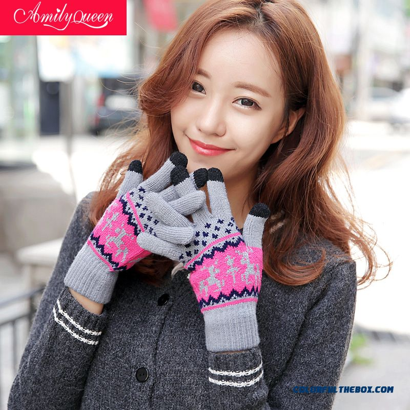 Lady Men Deer Plus Velvet Touch Screen Gloves Lovely Warm Knitted Wool Mittens Couple Accessories