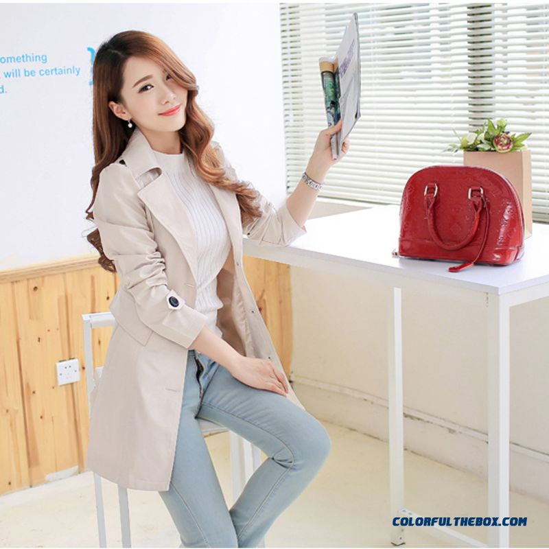 Lady Windbreaker Women Medium-long Single-breasted Coat Large Size Wholesale Low Price High Quality Clothing