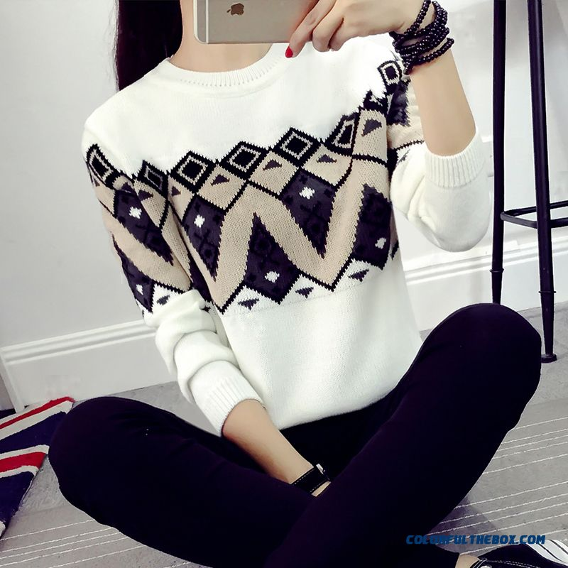Lady Women Clothing Sweater Pull Blouson Bottoming Shirt Round Neck Retro Short