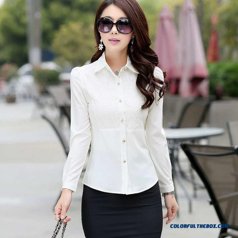 Lady Women Occupational Ol Temperament Stylish Shirts Tooling Casual Shirt Bottoming Shirt Europe Fashion Srtyle Design - more images 1