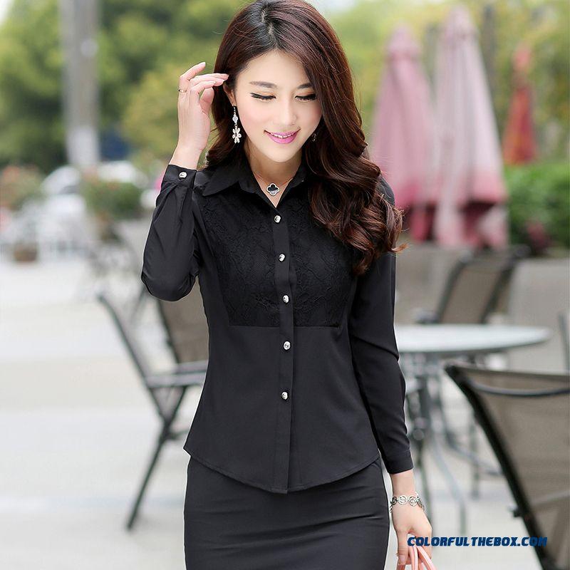 Lady Women Occupational Ol Temperament Stylish Shirts Tooling Casual Shirt Bottoming Shirt Europe Fashion Srtyle Design - more images 2