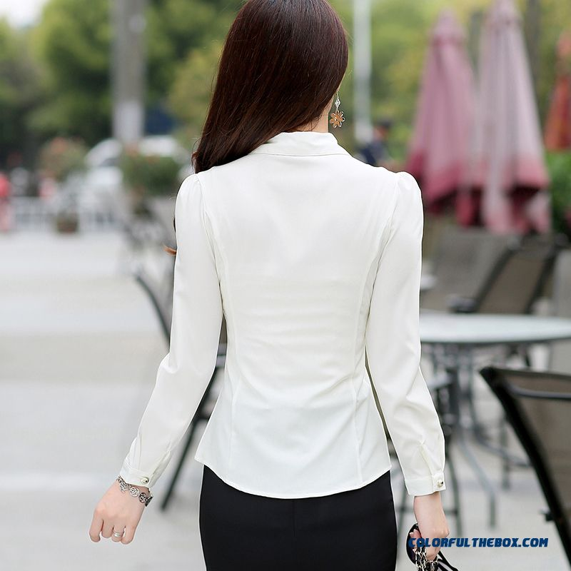 Lady Women Occupational Ol Temperament Stylish Shirts Tooling Casual Shirt Bottoming Shirt Europe Fashion Srtyle Design - more images 3