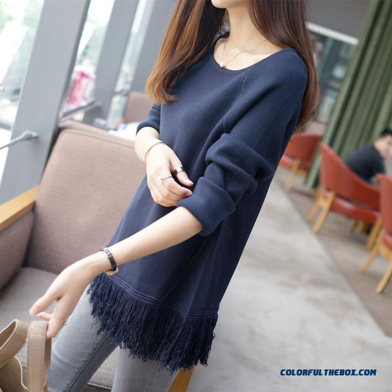 Lady Women Round Neck Sweater Pull Blouson Bottoming Shirt Fringes Navy Red Grey Black