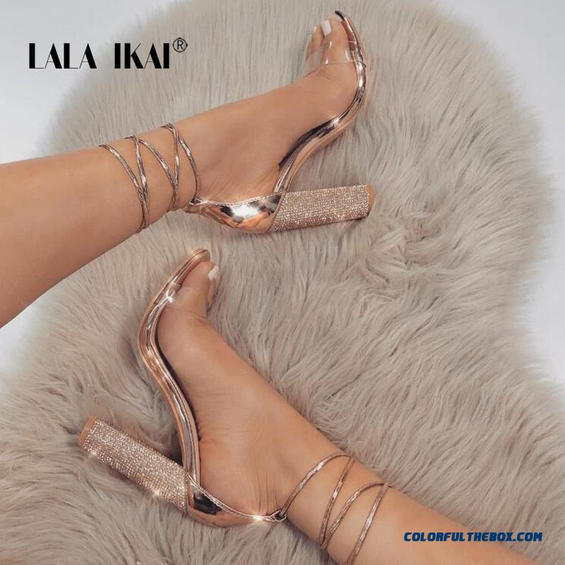 Lala Ikai Women Heeled Sandals Bandage Rhinestone Ankle Strap Pumps Super High Heels 11 Cm Square Heels Lady Shoes 014c1931 -4