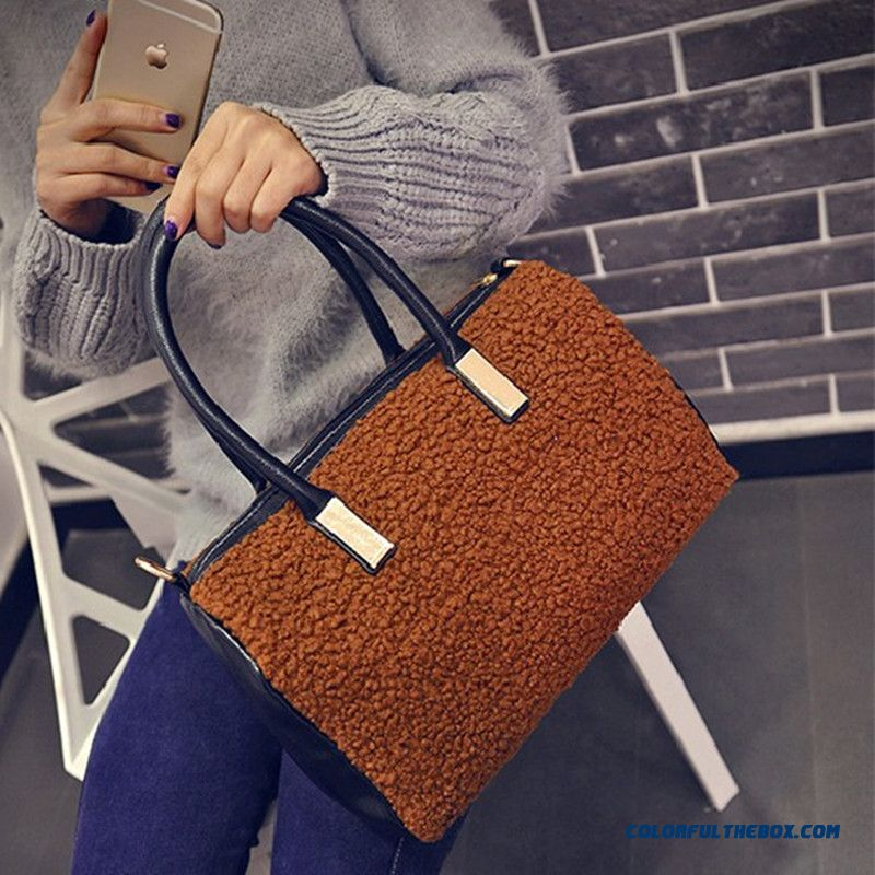 Lamb Wool Stitching Women Bags Top-handle Bags Top Sale In Winter