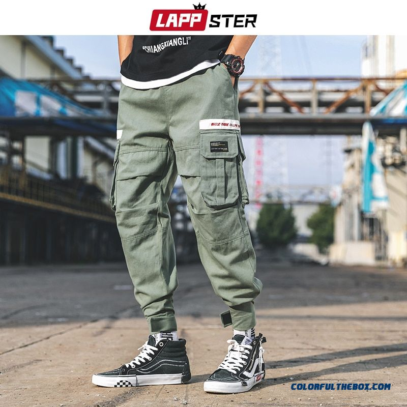 Lappster Loose Pockets Cargo Pants 2019 Hip Hop Baggy Harem Pants Army Green Track Pants Cotton Sweatpants Hype Joggers Pants