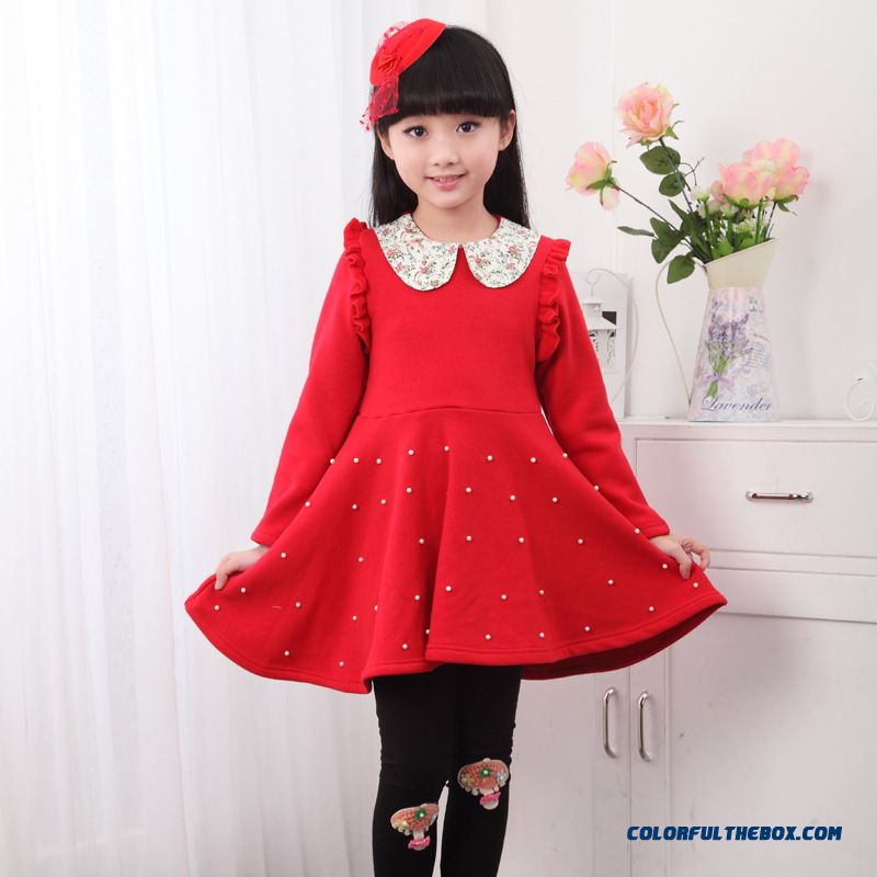 Large Fall And Winter Clothes Children Wear Thick Cotton Plus Velvet Princess Dress