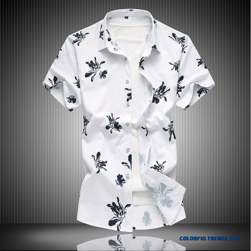 Large Size All-match Summer Loose Men's Shirt Short Sleeve White 2019 Flower Trend Printing Leisure