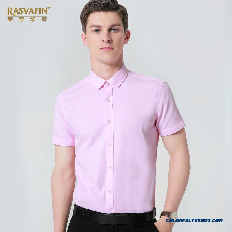Large Size Europe Tooling Professional Slim Shirt Short Sleeve Pink White Summer Half Sleeve Skinny Men's