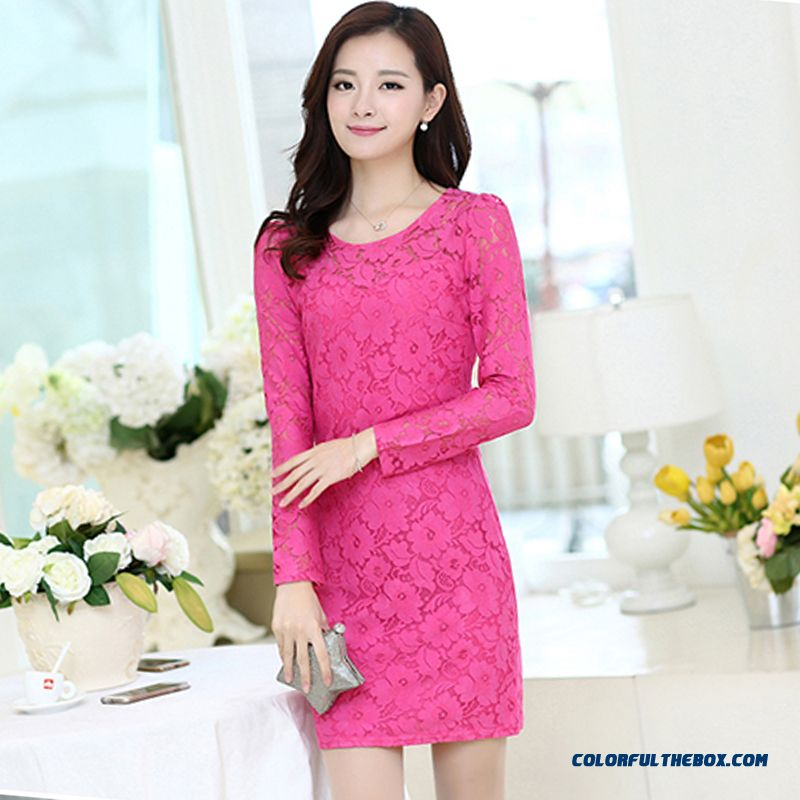 Large Size Slim Lace Long-sleeved Dress Women Bottoming Vest Dress Package Hip Rose Black