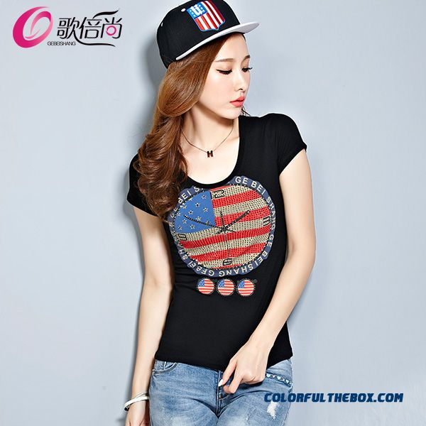 Large Size T-shirt Women Flag Clock Printed Cotton Short-sleeved Fashion Hot Selling