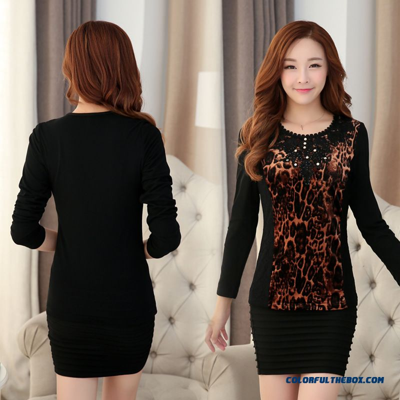 Large Size Women Applique Long-sleeved T-shirt Medium-long Style