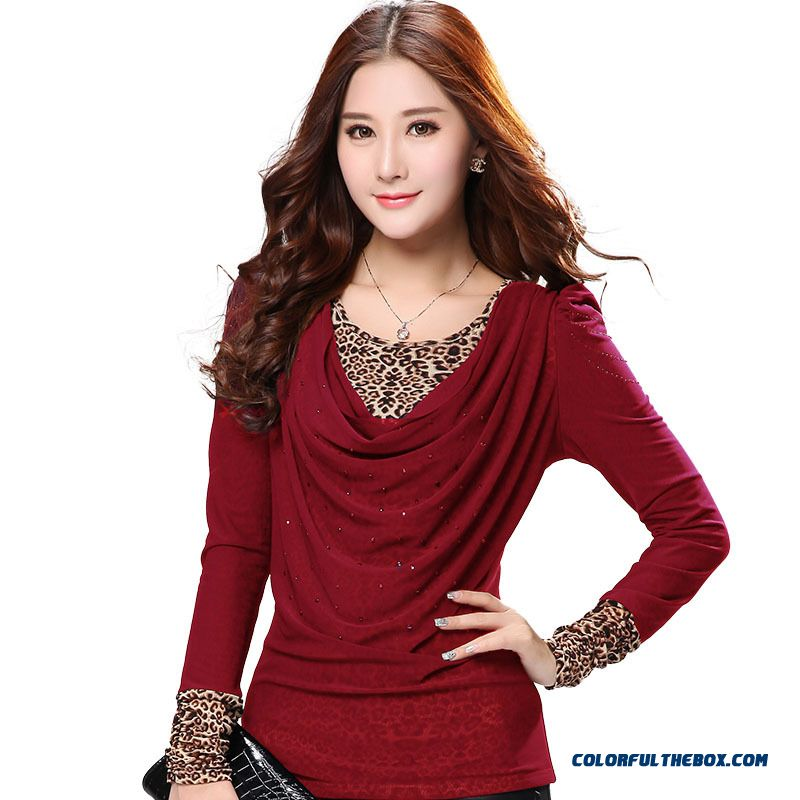 Large Size Women Loose T-shirt Plus Velvet Leopard Korean Long-sleeved Gauze Bottoming Clearance - more images 2
