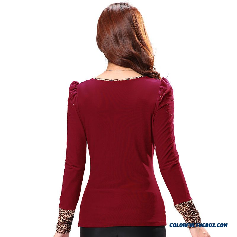 Large Size Women Loose T-shirt Plus Velvet Leopard Korean Long-sleeved Gauze Bottoming Clearance - more images 3