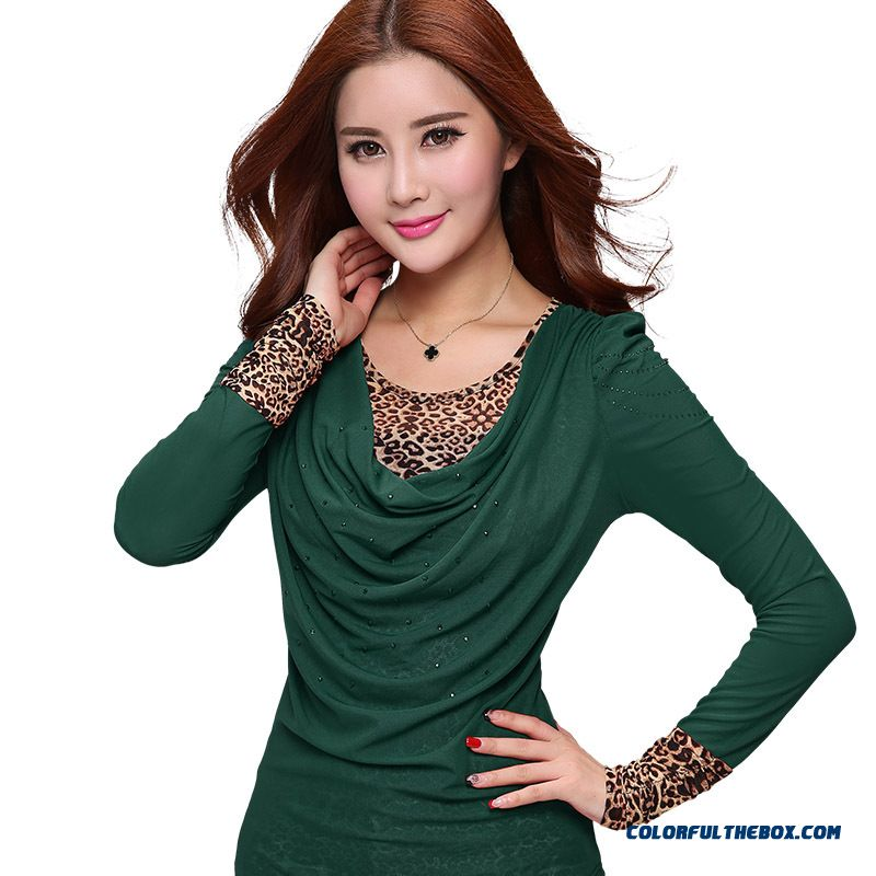 Large Size Women Loose T-shirt Plus Velvet Leopard Korean Long-sleeved Gauze Bottoming Clearance - more images 4