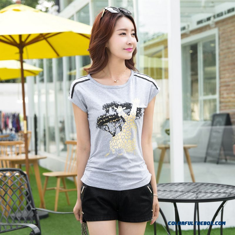 Large Size Women New Summer Short-sleeved T-shirt Printing Casual Sports T-shirt