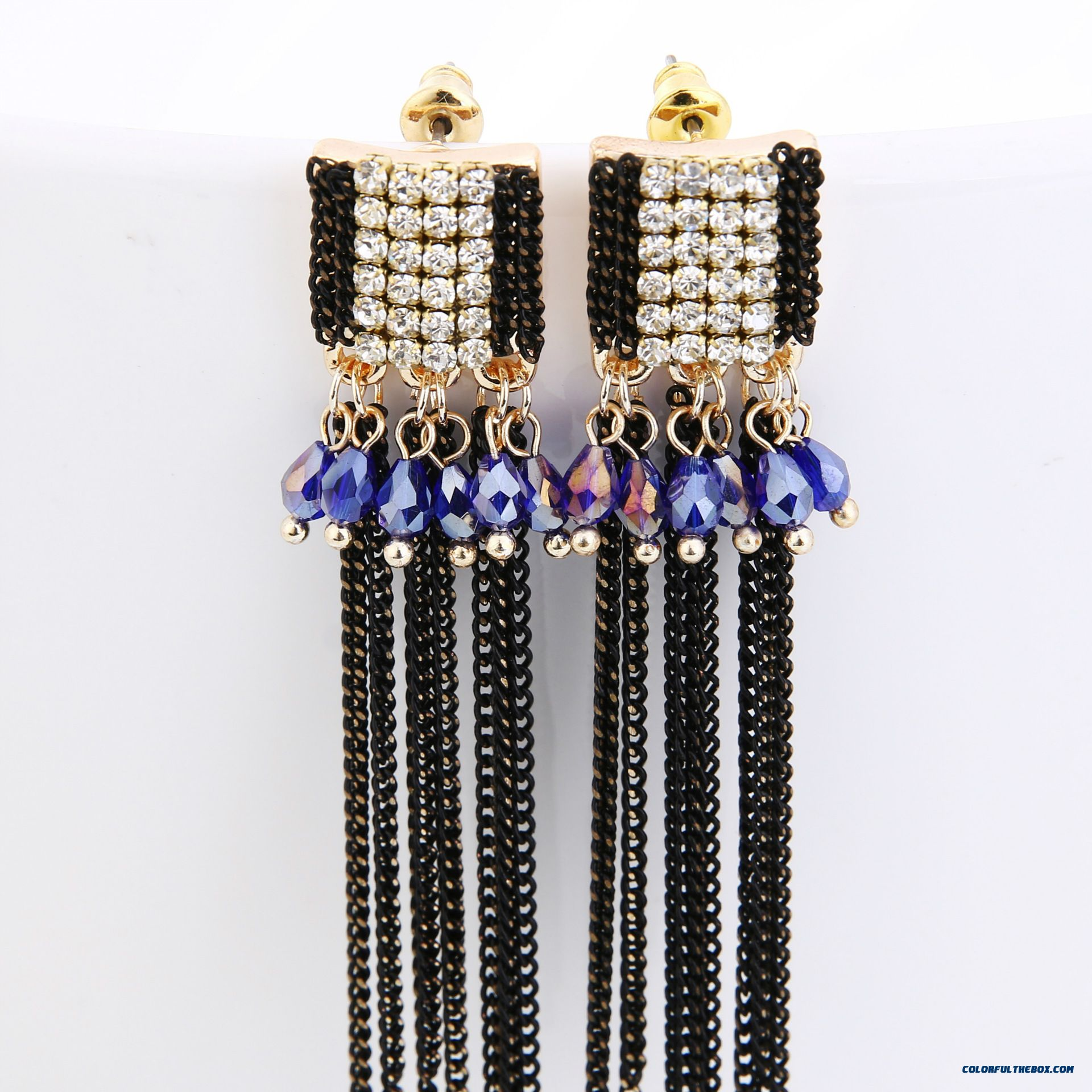 Latest Arrival Diamond Chain Tassel Exaggeration Stud Earrings Plated Chain Square True Hypoallergenic Earrings