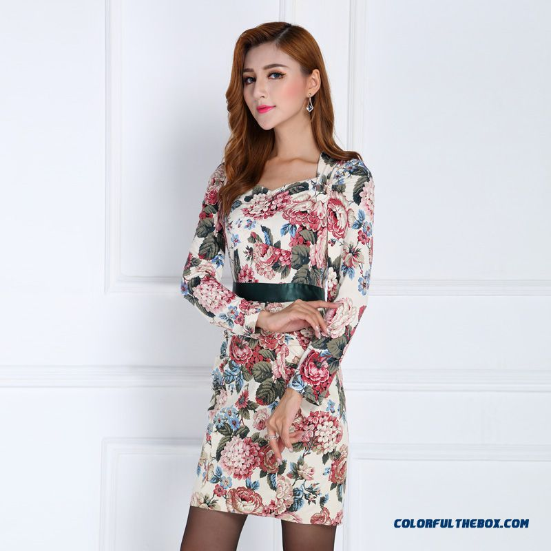 Latest Design Authentic Original 2016 Spring New Women Ladies Long-sleeved Print Dress