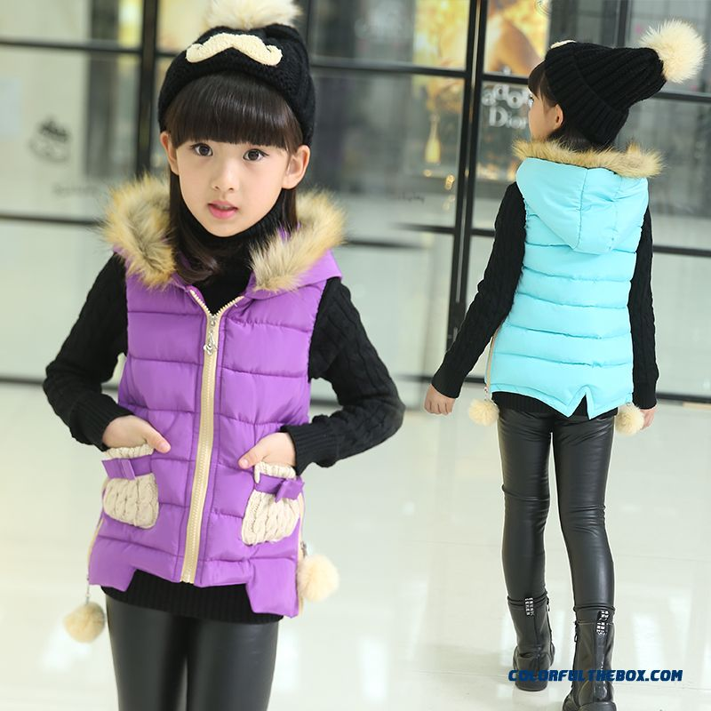 Latest Design Cotton Jacket Warm Winte Vest Kids Clothing Sleevelsee Special Offer For Girls