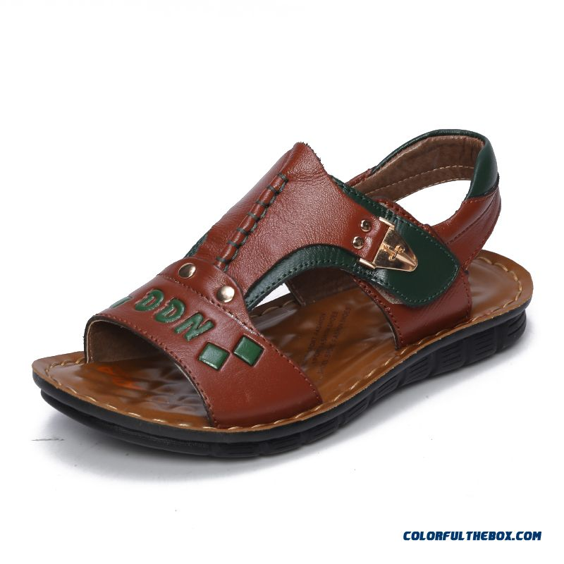 Latest Design For Boys First Layer Of Leather Kids Summer Sandals Top-class Qualtity