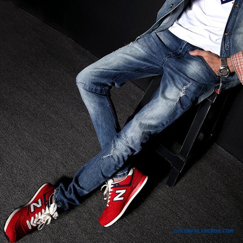 Latest Fashion Design Men Retro Straight Elastic Jeans Blue On Sale