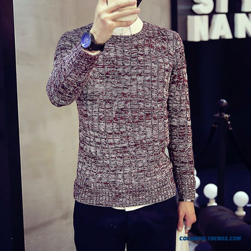 Latest Fashion Hit Color Thick Crew Neck Long Sleeve Men's Sweater Tide