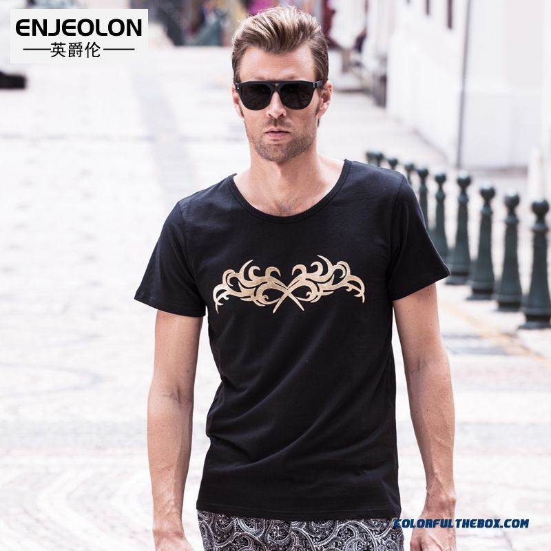 Latest Fashion Men's Short-sleeved Tees Summer New Crew Neck Elastic Printing