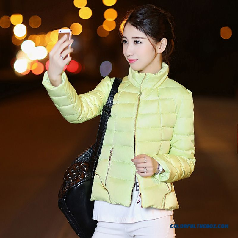 Latest Fashion New Winter Female Coat Short Large Blue Pink Light Green