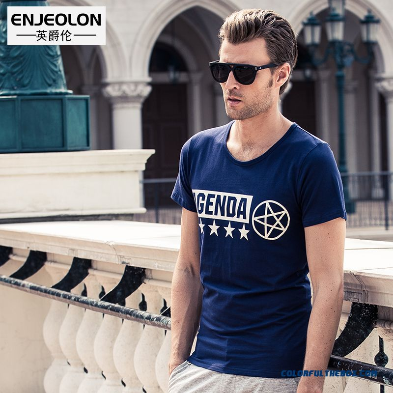 Latest Fashion Summer New Men's Slim Letters Printed Short-sleeved Tees Men