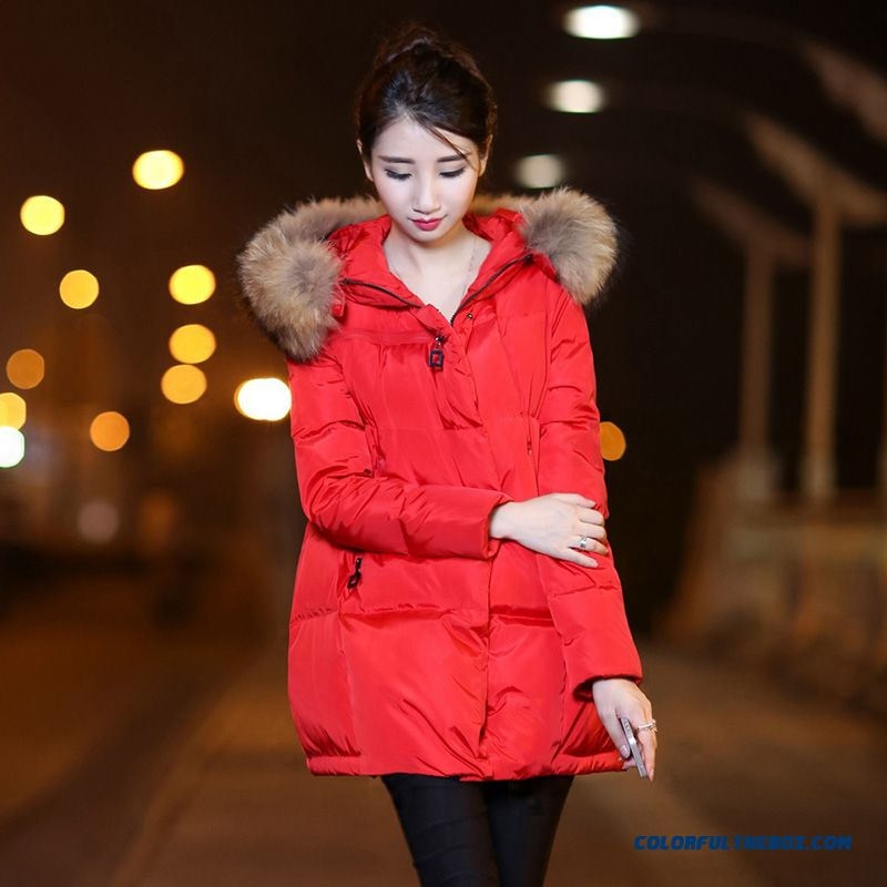 Latest Fashion Women Wear New Fur Collar Hooded Coat Large Medium Length - more images 1