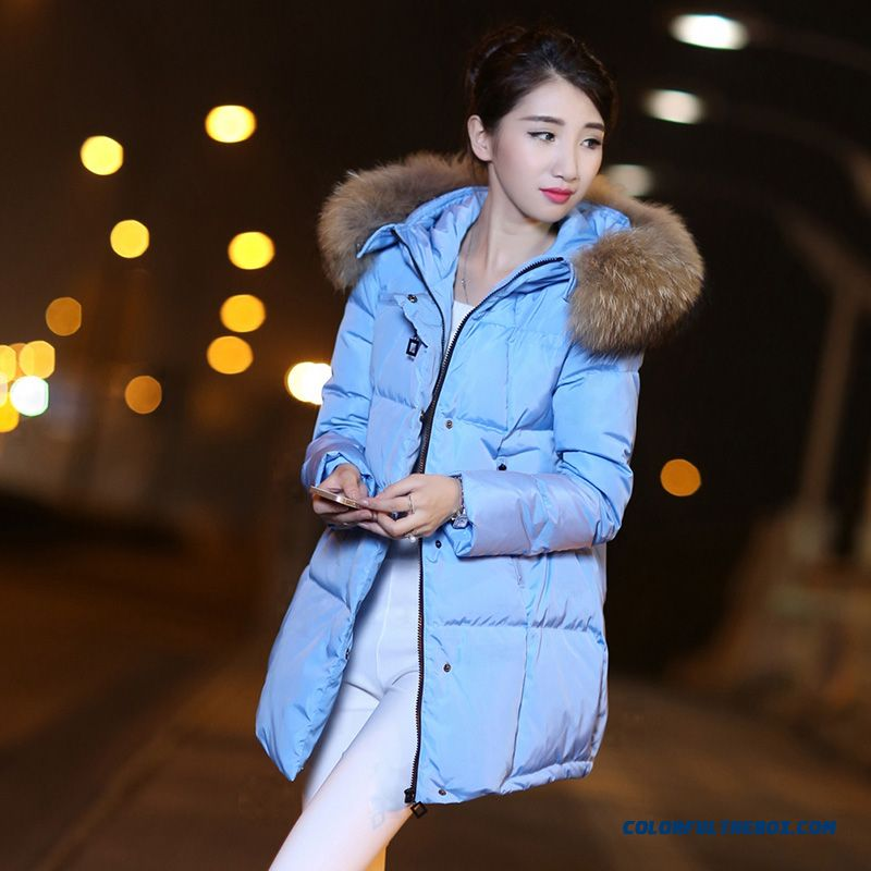 Latest Fashion Women Wear New Fur Collar Hooded Coat Large Medium Length - more images 2