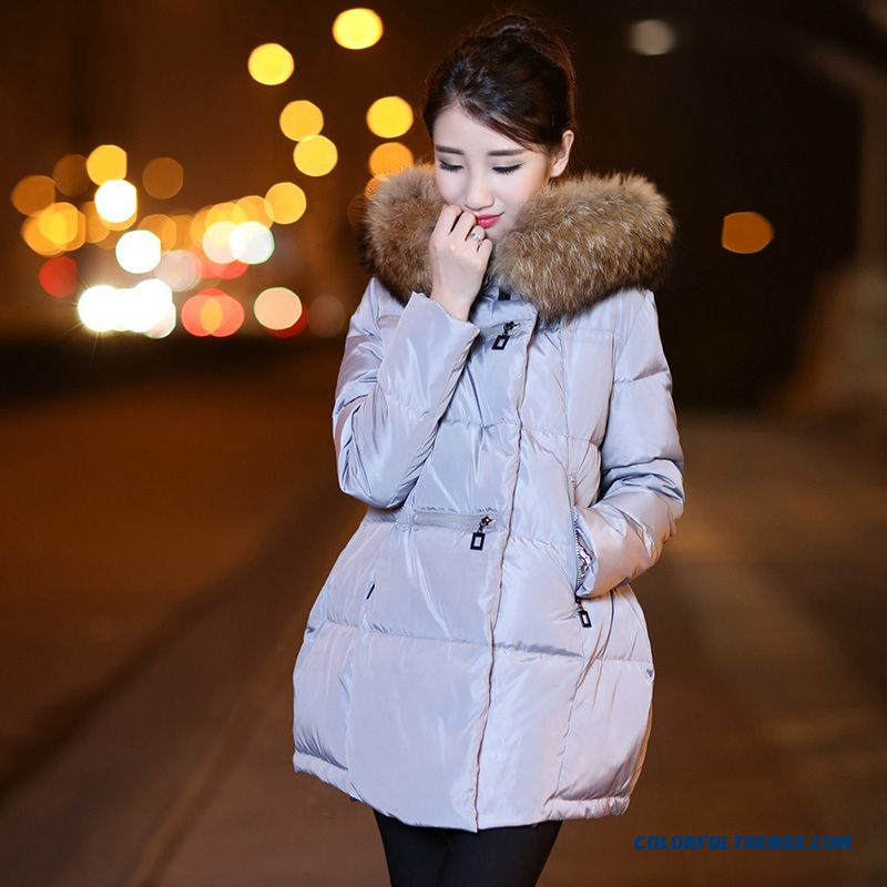 Latest Fashion Women Wear New Fur Collar Hooded Coat Large Medium Length - more images 4