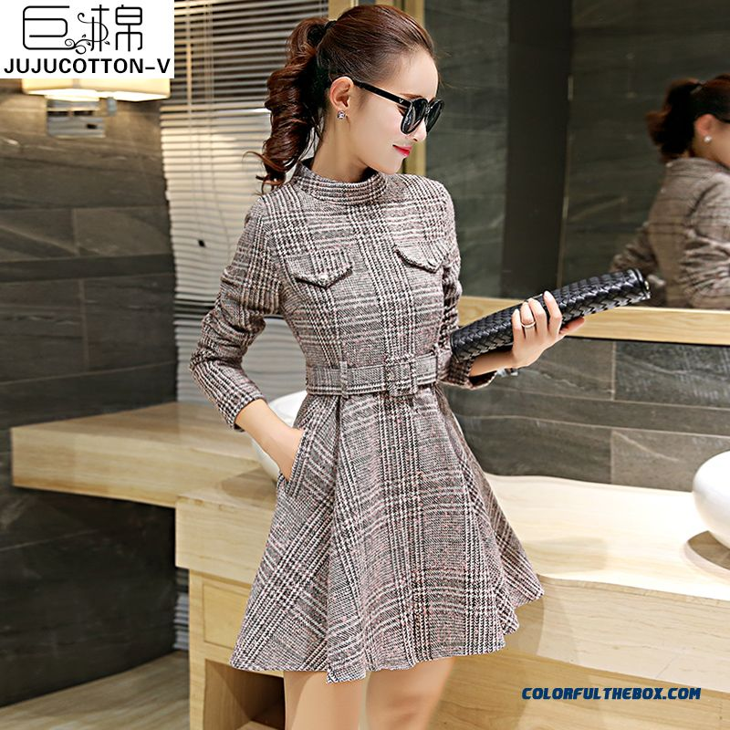 Latest Fashion Woolen Long-sleeved Women Dress Slim Lattice Winter - more images 1