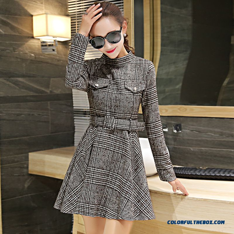 Latest Fashion Woolen Long-sleeved Women Dress Slim Lattice Winter - more images 2