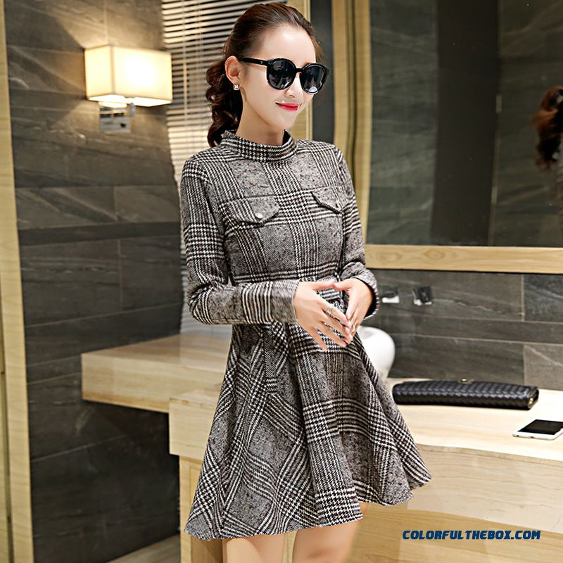 Latest Fashion Woolen Long-sleeved Women Dress Slim Lattice Winter - more images 3