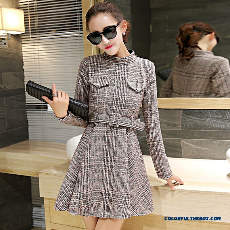 Latest Fashion Woolen Long-sleeved Women Dress Slim Lattice Winter - more images 4