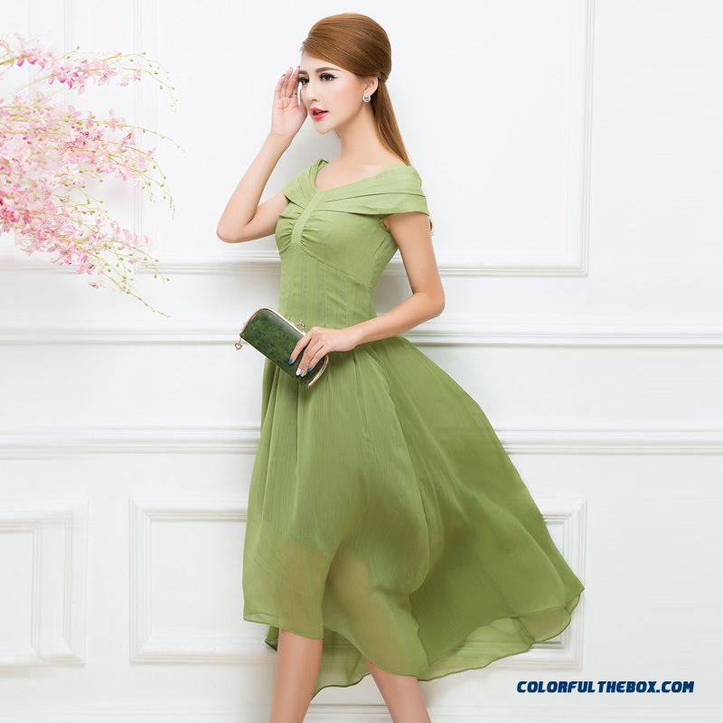 Latest Promotion For Women Long Dress Green Coffe Two Colors Avaliable