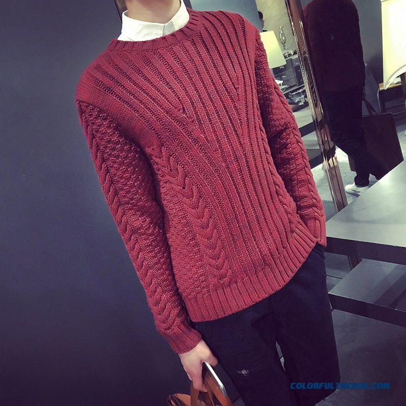 Latset Designed New Men's Sweaters Thick Winter Bottoming Shirt Pure Color Pullover Tide