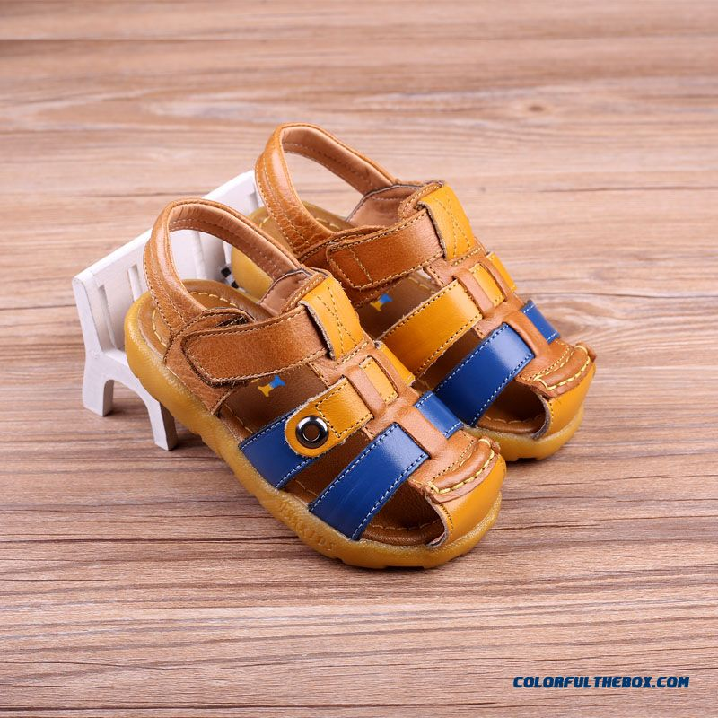 Leather Sandals Baotou Kids Children's Soft Bottom Baby Shoes For Bpys