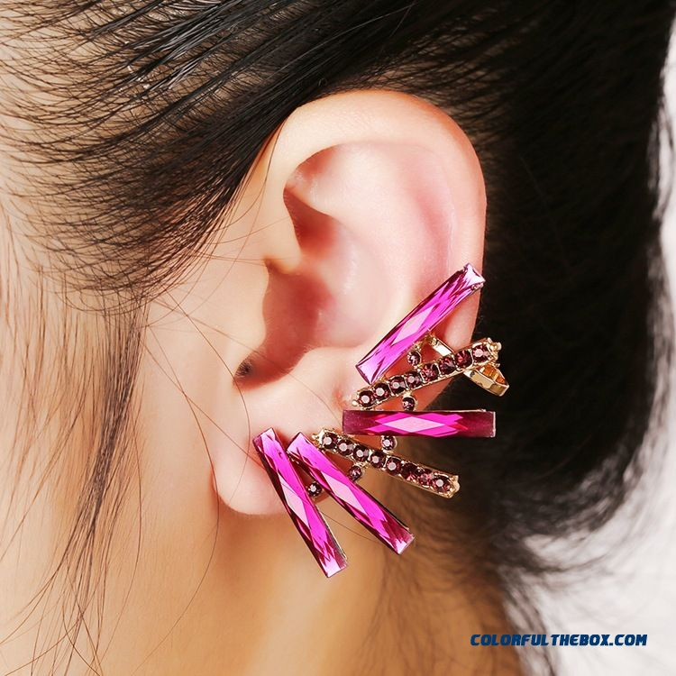 Legant Rose Zirconium Diamond Clip Shiny New Clip Earrings Woemn Fashion Ear Jewelry Wholesale