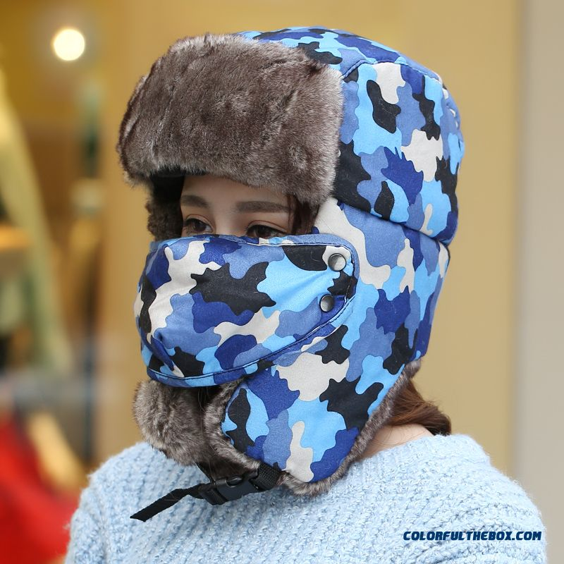 121d9650dec Lei Feng Winter Women Hat Camouflage Thick Masks Ear Protection Cycling Cap  Northeastern China Style ...
