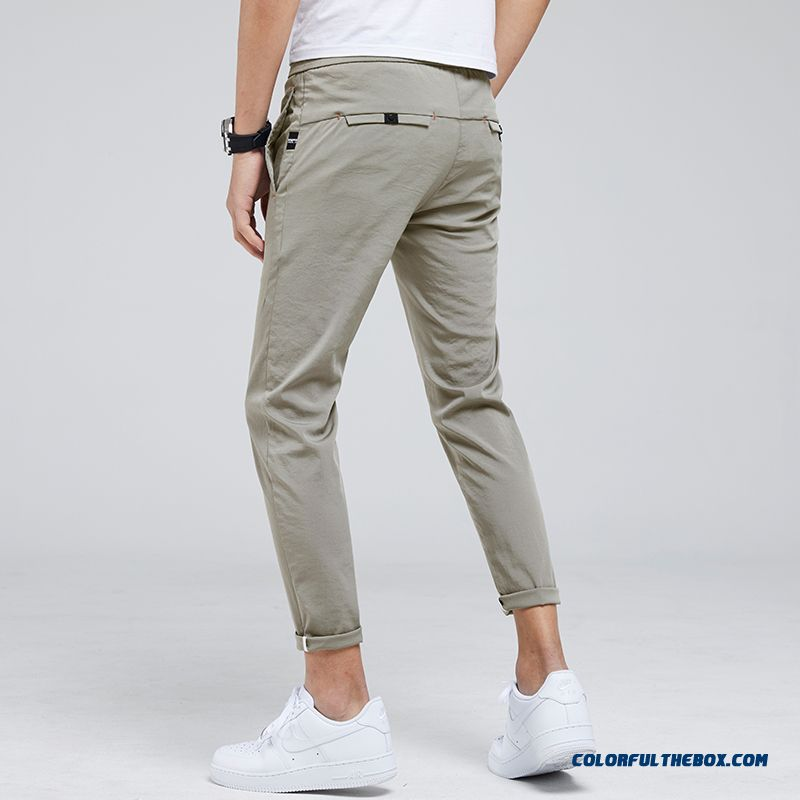 Leisure All-match Ultra Khaki Pants Men's Skinny Ninth Pants Summer Slim Trend Loose