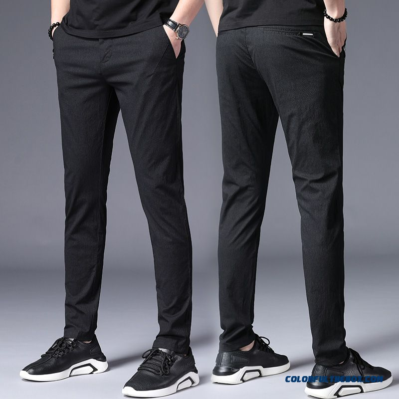 Leisure Black Pants Summer All-match New Trend Slim Europe 2019 Skinny Men's Fashion