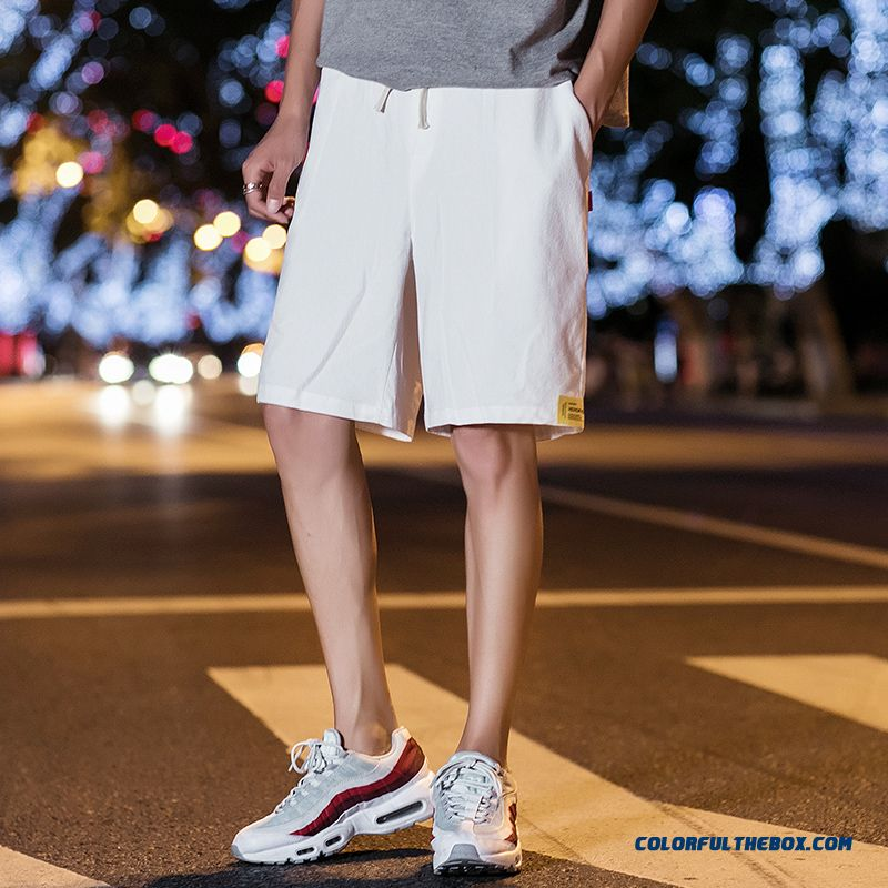 Leisure Loose Trend Summer Shorts Men's Skinny Pants Cropped Trousers White Sport Short Pants
