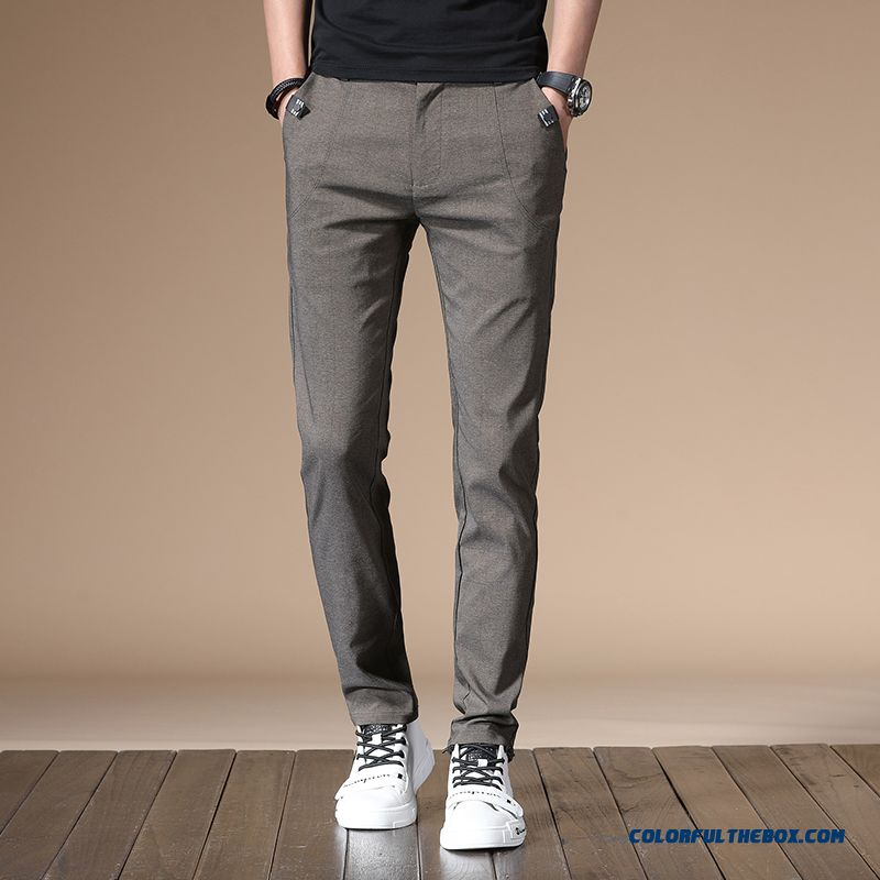 Leisure Pants Men's Loose Khaki Office Straight Trousers Summer