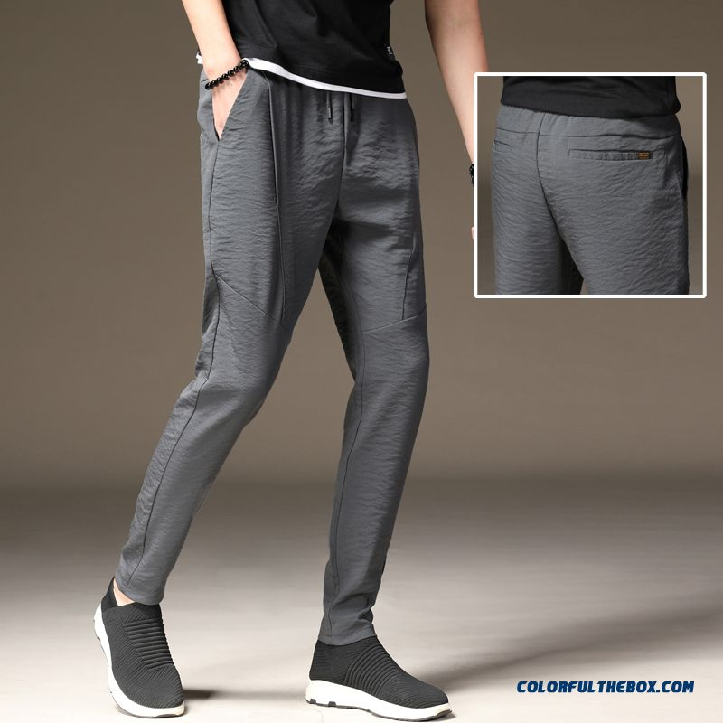 Leisure Pants Quick Dry Trousers Loose Skinny Summer Ultra Elastic Men's Gray