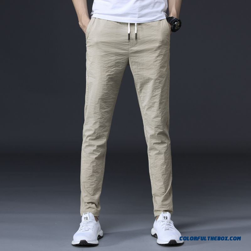 Leisure Pants Trousers Men's Khaki Elastic Europe All-match Summer Trend Sport Skinny