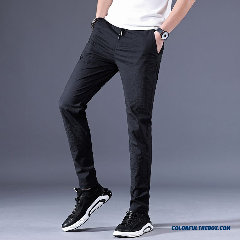 Leisure Slim Summer Straight Men's Pants Ultra Loose Sport 2019 Black Skinny All-match